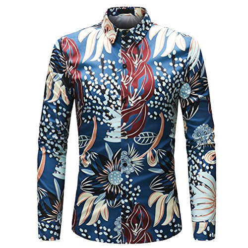 Zhuhaijq adolescenti uomo funky 3d floreali hawaiano taglie forti slim fit camicie manica lunga fancy tops per locale notturno festa casual