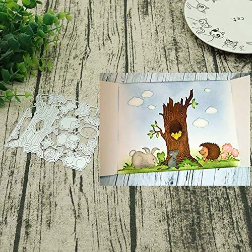 periwinkLuQ Stanzschablonen aus Metall, Motiv: Baum, für Scrapbooking, Dekoration, Prägung, Schablonen – Silber
