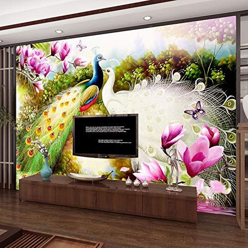 Eintracht-tv (MuralXW 3D Wandbilder Wallpaper Handgemalte Blumen Vögel Pfau Ölgemälde Wohnzimmer Sofa TV Hintergrund Fototapete-280x200cm)
