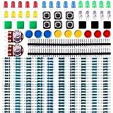 Elegoo Kit de Componentes Electrónicos con Resistencias, Leds, Conmutadores, Potenciómetros, para Arduino UNO, MEGA2560, Raspberry Pi, Hoja de Especificaciones Disponible para Descarga Compatible con Arduino UNO MEGA 2560 NANO