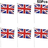 LIOOBO 50 Pz Tenuto in Mano Piccola Bandiera del Regno Unito su Stick Bandiere di Bandiere del Mondo Internazionale del Basto