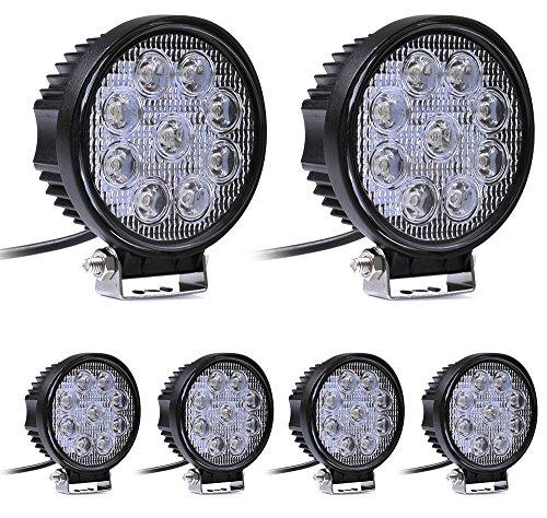 Leetop 6X Faro 27W Rotondo Faretto LED da Lavoro 9 LED di Profondità Auto B