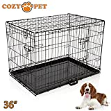 "Cozy Pet Dog Cage 36"" Black High Quality Metal Tray Folding Puppy Crate"
