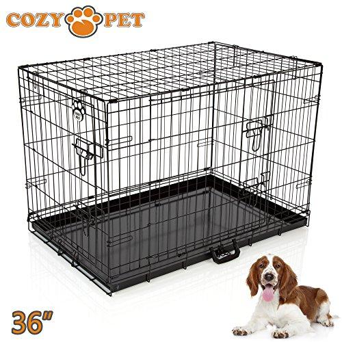 Cozy Pet Hundekäfig, Hochwertiger, Größe 92cm in Schwarz, 2 Türen, Metallschale, Welpenkäfig, Faltbar Käfig, Transportkäfig für Hunde, Katzen, Welpen und Haustiere, Hundekiste, Hundekäfige - Artikel DC36B