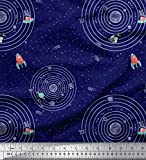 Soimoi Blau Baumwolle Ente Stoff Sonnensystem und Rakete