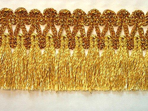 16,40m Fransen-Borte 4,5cm breit Farbe: Lurex-Gold TSL-AA360-1-Gold