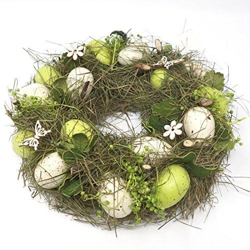 Deko Kranz mit Eiern, Osterkranz grün creme. D 23cm. 1 Stück