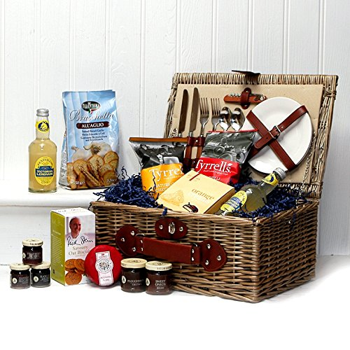 Spring Food Selection Presented in a Cream Lined 2 Person Chiller Picnic Hamper Basket - Gift Ideas for Christmas, Valentines, Mother's Day, Birthday, Wedding, Anniversary, Business and Corporate