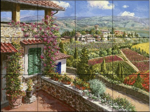 Castello Di Verrazano by Sam Park | Tile Mural for Kitchen Splashback | Bathroom Wall Tile Mural | UK made