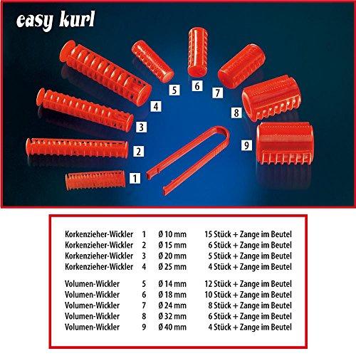 Easykurl Lockenwickler Papilotten 18 mm, rot, Volumen-Lockenwickler mit Papilätt-Zange