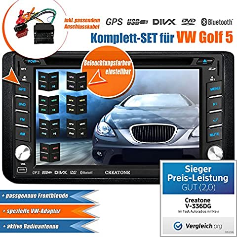 2DIN Auto Radio Creatone V de 336dg para Volkswagen Golf 5(2003–2009) con GPS Navegación (Europa), Bluetooth, pantalla táctil, reproductor de DVD y función de USB/SD