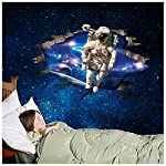 Weaeo 60 X 90Cm 3D Outer Space Astronauts Wall Stickers Cartoon Spaceman Bedroom Sticker Decals Home KidS Room Decor Wallpaper