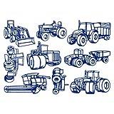 plot4u 9-Teiliges Trecker Set Wandtattoo Mähdrescher Traktor 75x52cm königsblau