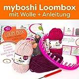 Strickring Einsteiger Set Strickring + Loomguide mit 5 Anleitungen + 3x Strickgarn (rose magenta brombeere, mit Strickring)