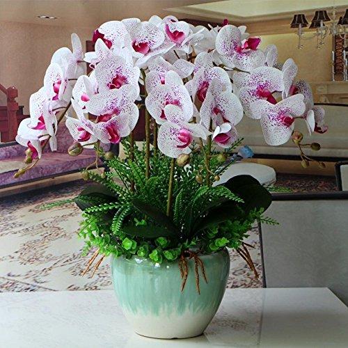 Jnseaol Kunstblumen Orchidee Keramiktopf Diy Hochzeit Hotel Party Küche Fensterbank Eine Große Dekoration Muttertag Geschenk Weiß 04