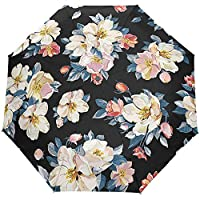 Vintage Country Garden Floral Flowers Auto Open Close Umbrellas Anti UV Folding Compact Automatic Umbrella
