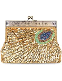Baglamor Vintage Peacock Clutch Beaded Sequin Purse Evening Handbag Sunburst Navy And Turquoise Eye Catching -...