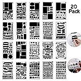 Bullet Journal Schablone Set 20pcs AOLVO Kunststoff DIY Zeichnen Vorlage Hobelmesser Kit für Kinder/Erwachsene Tagebuch, Notizbuch, Scrapbooking, Hand Craft Kunst-Projekte