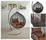 Home Deluxe Polyrattan Hängesessel Cocoon, inkl. Gestell, Sitz- und Rückenkissen