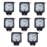 MCTECH 8 X 27W Quadrat LED Offroad Flutlicht Reflektor Scheinwerfer Arbeitslicht SUV, UTV, ATV Arbeitsscheinwerfer Zusatzscheinwerfer Offroad Scheinwerfer 12V 24V Rückfahrscheinwerfer