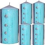 Weihnachten Kerzen Set 4 Stück Stumpenkerzen Adventskerzen 100x50 Dekokerzen Kerzen für Adventskranz Tischkerzen mit Sternchen türkise silber andere Farben möglich IW50