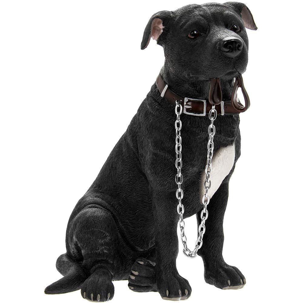 Leonardo Black Staffordshire Bull Terrier Walkies ornament figurine
