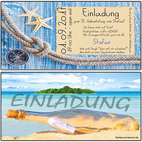 Einladungskarten zum Geburtstag Einladung als Flaschenpost 90 Stück Muscheln Strand Cocktailparty Cocktail Pool-Party Kreuzfahrt
