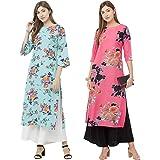 GoSriKi Women's Multicolor Printed Straight Kurta Pack of 02