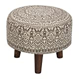 #7: Nestroots Stool Pouffe Ottoman Footrest Printed with Wooden Legs