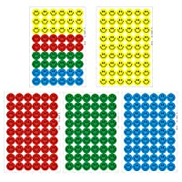 Coardor Emoji Stickers Smiley Face 2700 Pages Small Praise Smile Faces Reward Label Educational Merit Yellow Red Green Blue 50 Sheets of 54 Stickers 540 Labels