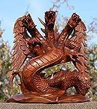 21 cm Dreikopf Glücks Drache Holz DRAGON Drachen FENG SHUI 47