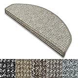 Stufenmatten Carlton | Flachgewebe dezent gemustert | Treppenteppich in zwei Formen | mit Teppich Läufer kombinierbar (Grau-Beige - halbrund - 15 Stück)