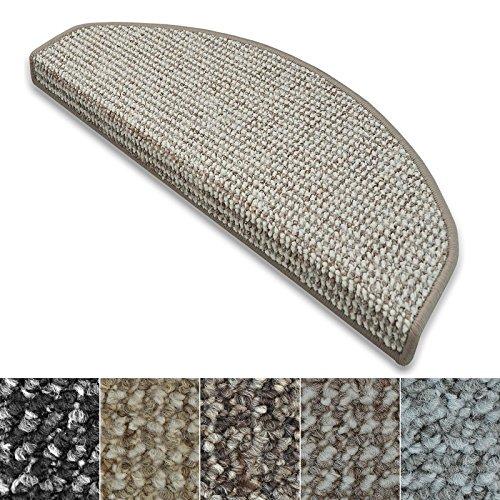 casa pura Stufenmatten Carlton   Flachgewebe dezent Gemustert   Treppenteppich in Zwei Formen   mit Teppich Läufer kombinierbar (Grau-Beige - halbrund - 1 Stück) - Treppenstufen Teppich, Teppich Läufer