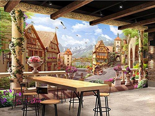 WH-PORP Benutzerdefinierte 3D Tapete Roman Rose Town Garten Kaffee Cafe 3D Hintergrund Wand-128cmX100cm