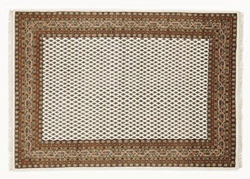 BADOHI MIR echter klassischer Orientteppich handgeknüpft in creme-braun, Größe: 40x60 cm