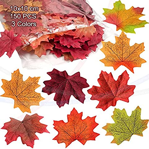 wocharm150 pcs 10X10cm Mixed Artificial Autumn Maple Leaves Autumn Colors Great Autumn Table Scatters For Fall Weddings Festivals Party Christmas Valentine Halloween Home Decor