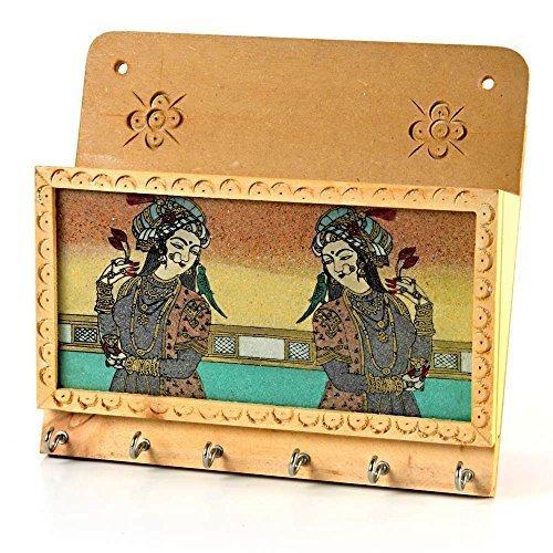 Little India Gemstone painting Magazine Keychain Holder Brown - Holder Keychain