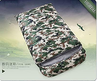 ZHUDJ Down Sleeping Bag, Outdoor Fishing Room, Adult Light Double Thickening Sleeping Bag,Digital Camo,1200 Grams from ZHUDJ