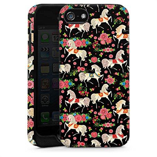 Apple iPhone 5s Housse Étui Protection Coque Chevaux Fleurs Fleurs Cas Tough brillant
