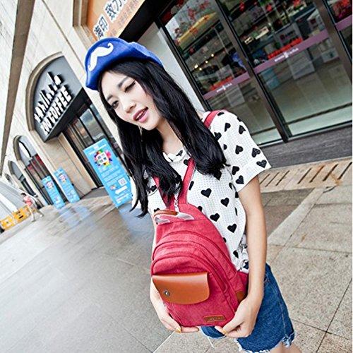 CHENGYANG Herren Damen Vintage Canvas Rucksack Tasche für Outdoor Schultasche Reisetasche Rot