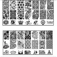 Bienvenido 1 piezas Nail sello Plantilla manicura imagen que estampa la junta de uñas