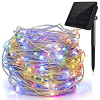 Solar String Lights, Copper Wire Light Twinkle Starry Lighting Decorative Lamp Waterproof Fairy Rope Light for Christmas Festival Home Holiday Garden Patio Indoor Outdoor(50 LEDs, Multi Color)