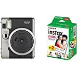 Fujifilm - Instax Mini 90 NEO Classic - Appareil Photo à Impression Instantanée - Noir & Fujifilm - Twin Films pour Instax Mini - 86 x 54 mm - Pack 2 x 10 Films