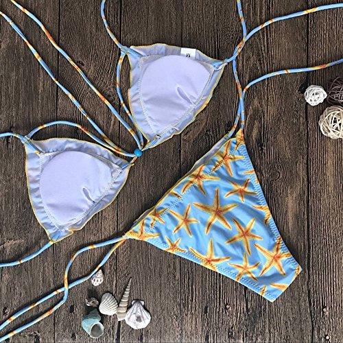 Bekleidung Bikini Loveso Sommer Damen Mode Starfish Muster Hängende Hals Dreieck Form BH Polyester Bikini Sets Bademode Badeanzug Strandkleidung Blau