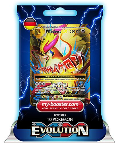 my-booster MEGA TAUBOSS EX Full Art 105/108 220KP XY12 Evolution - Booster mit 10 Deutsch Karten Pokemon (Ex Pack Art Karten Full Pokemon)