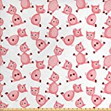 ABAKUHAUS Schwein Gewebe als Meterware, Cartoon lächelnde