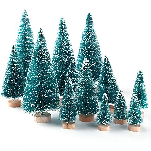 8a46acad88a5b KUUQA 34PCS Mini Nieve Frost Trees Bottle Brush Trees para Home Table Top.