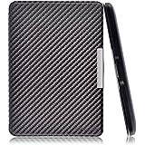 Swees® Funda de cuero Amazon para Kindle Paperwhite (sirve para el Nuevo Kindle Paperwhite 2014 2013 2012) + Protector de pantalla , Cubierta magnética con modo reposo - carbón negro