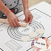 Tapis de Cuisson Patisserie en Silicone Anti-adhésif Réutilisable Baking Mat Fondant Pâte, 100% SANS Bisphénol-A (BPA) ,avec Mesure, 60 x 40 cm (Noir +Grattoir Cadeau)