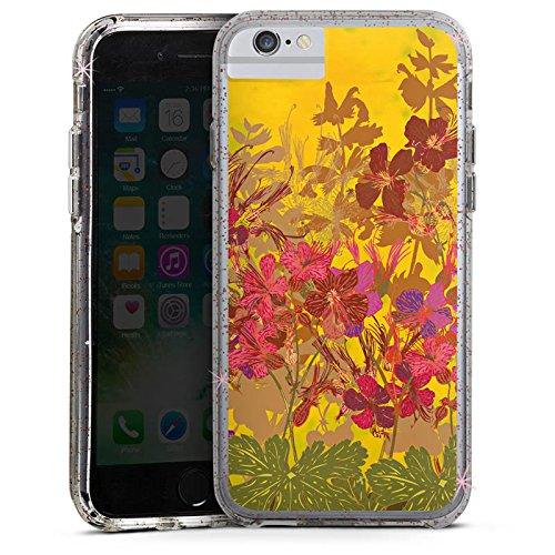 Apple iPhone 8 Bumper Hülle Bumper Case Glitzer Hülle Sonnig Flowers Blumen Bumper Case Glitzer rose gold